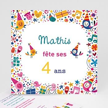 Carte invitation anniversaire garçon 4 ans fille et garçon à personnaliser