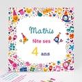 Carte invitation anniversaire garçon 4 ans fille et garçon
