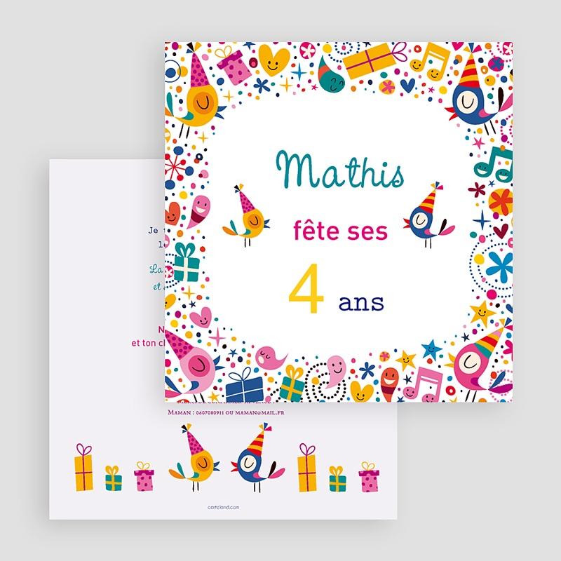 Carte invitation anniversaire garçon 4 ans fille et garçon gratuit