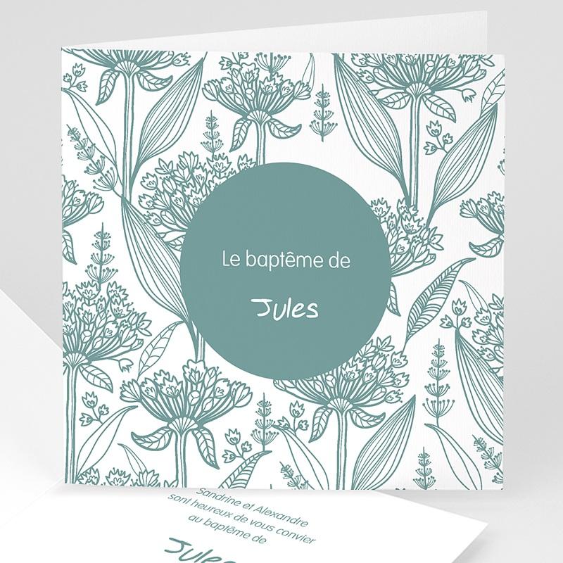 Faire-part Baptême Garçon - Invitation Florale 22107 thumb
