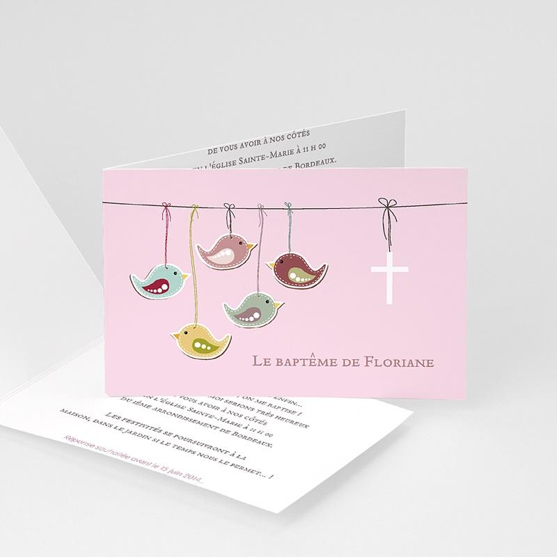 Faire-part Baptême Fille - Oiseaux du bonheur 22119 thumb