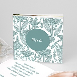 Remerciements Baptême Garçon - Invitation Florale - 1