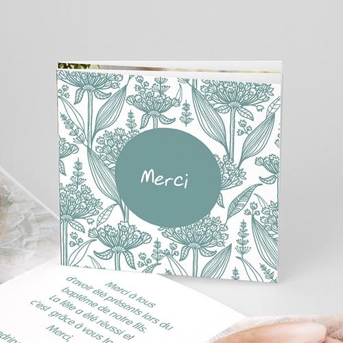 Carte Remerciement Baptême Garçon Merci Floral