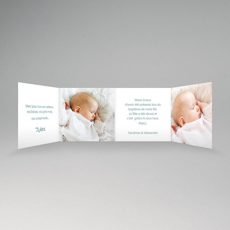 Carte Remerciement Baptême Garçon Merci Floral pas cher