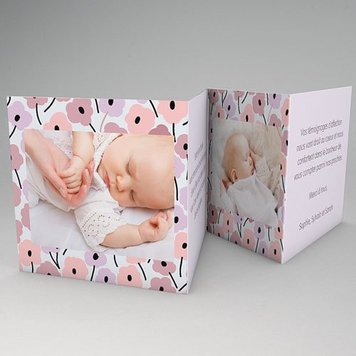 Faire-part Baptême Fille - Fleurs Rosées 22181 thumb