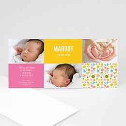 Faire-Part Naissance Fille - Multi-photos Rectangulaire - 3