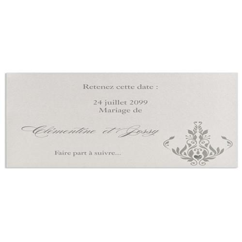 Faire-Part Mariage Traditionnel - Save-the-date gris irisé 22337