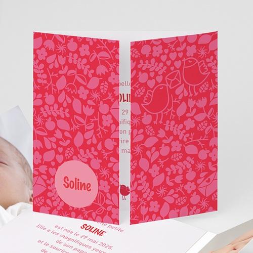 Faire-Part Naissance Fille - Rouge & Rose 22400