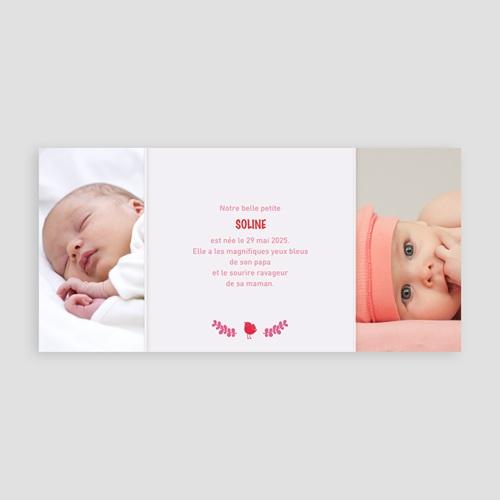Faire-Part Naissance Fille - Rouge & Rose 22401 thumb