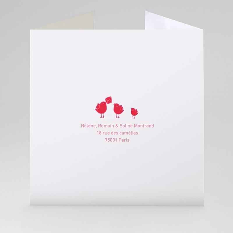 Faire-Part Naissance Fille - Rouge & Rose 22402 thumb