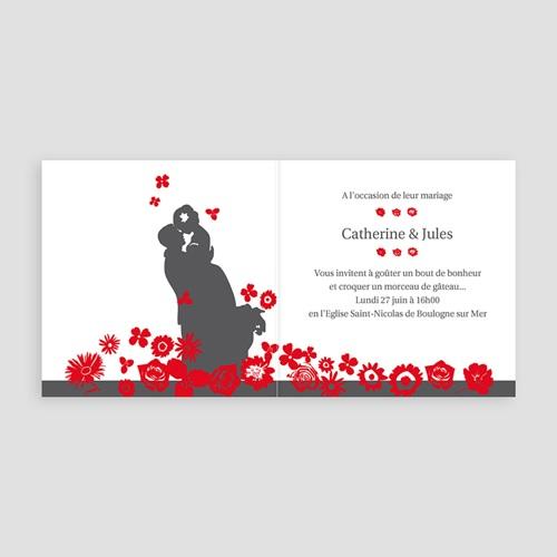 Faire-Part Mariage Personnalisés - Rouge & Gris 22410 thumb