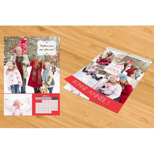 Calendrier Photo 2017 - Thème Noël - Fond rouge 22428