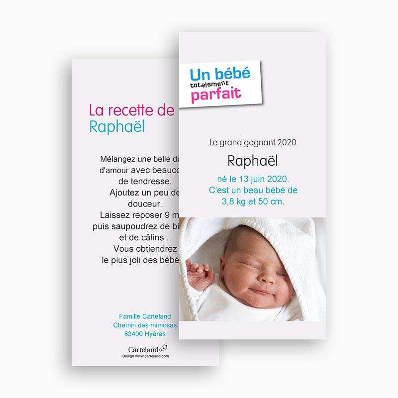 Faire-Part Naissance Garçon Bébé Parfait gratuit
