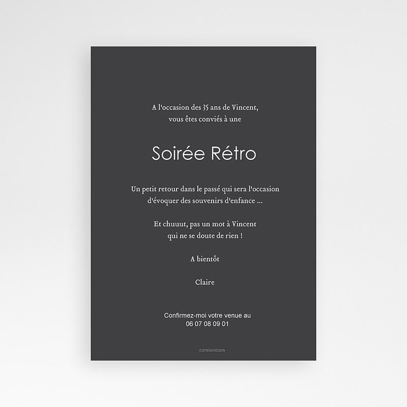 Carte Invitation Anniversaire Adulte Soirée Rétro pas cher