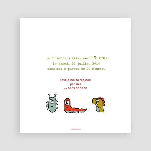 Invitations Anniversaire Garçon - Petits monstres 22511 thumb