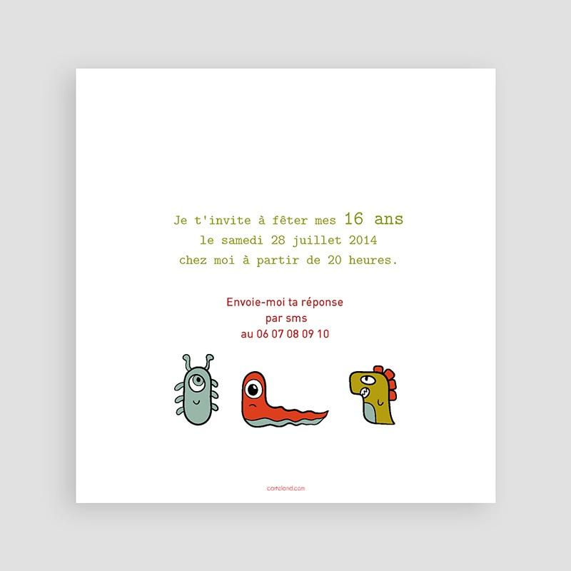 Carte invitation anniversaire garçon Monstres pas cher