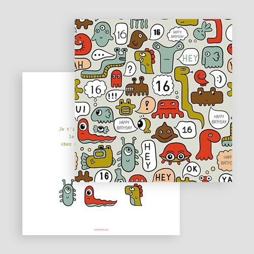 Carte invitation anniversaire garçon Monstres gratuit