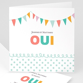 Faire-part mariage sans photo Fanions pastels