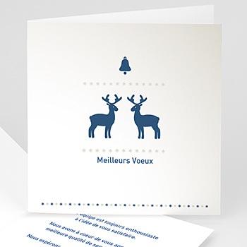 Carte de voeux entreprise Petits rennes bleus personnalisable