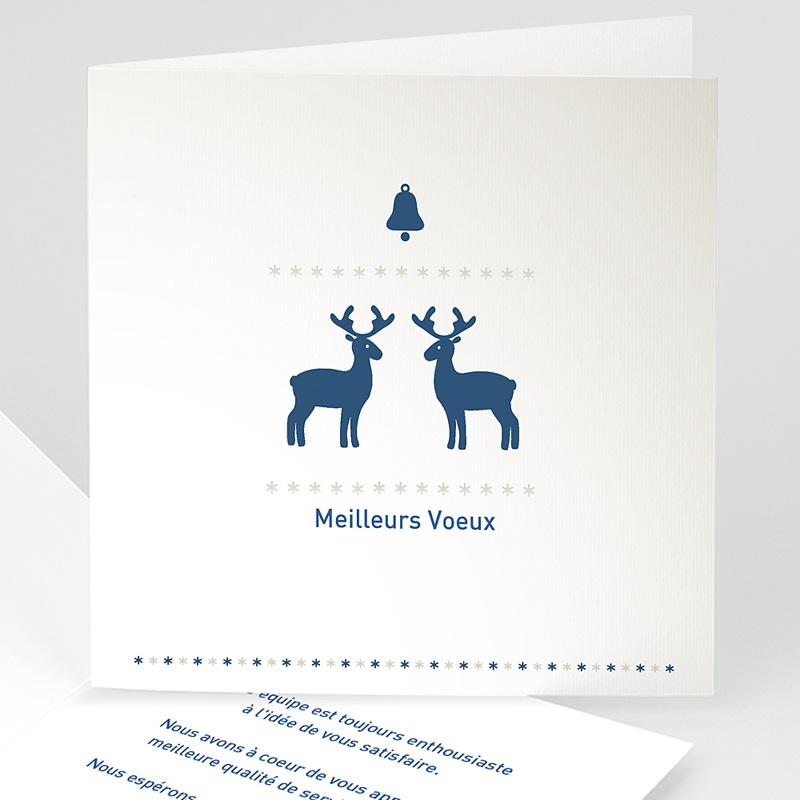 Carte de Voeux Professionnelle - Petits rennes bleus 22632 thumb