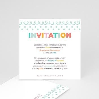 Carton Invitation Personnalisé - Fanions pastels - 1