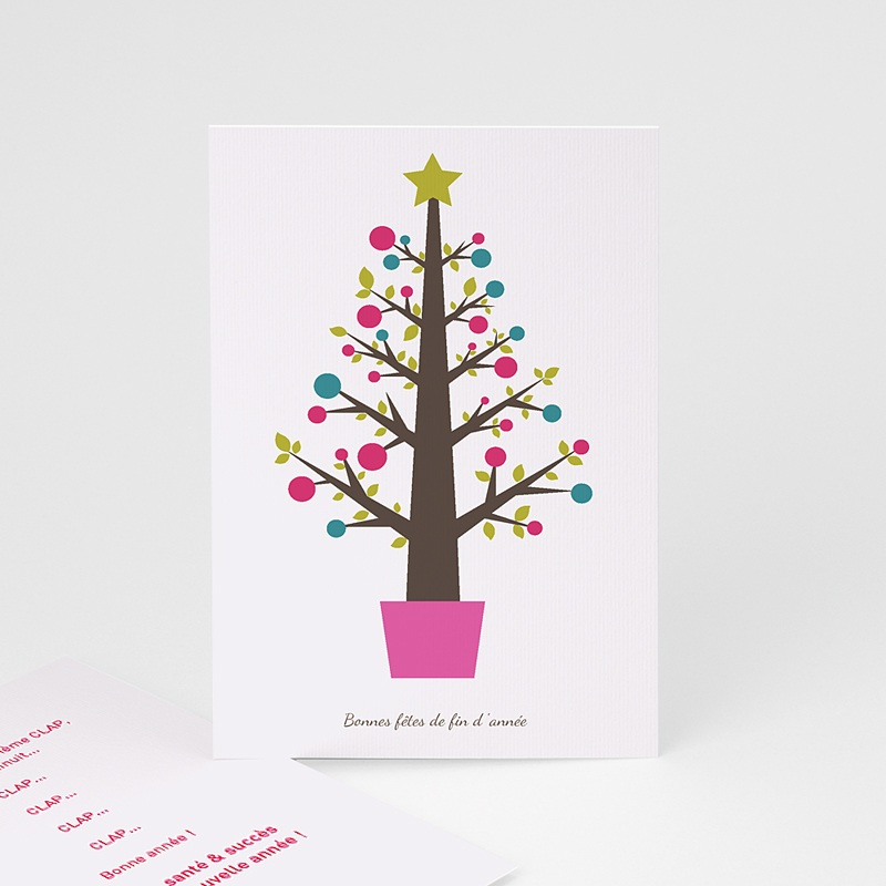 Carte Noël Bonne fête de fin d'année Arbre pop