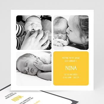 Faire-part de naissance fille Multiphotos Bloc Jaune