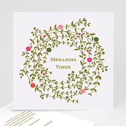 Carte de voeux Meilleurs voeux couronne de Noel