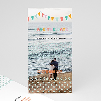 Save the date mariage fanions pastel personnalisable