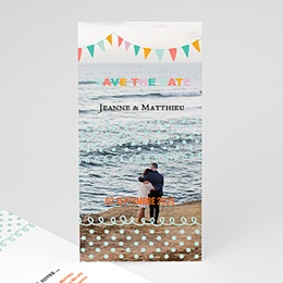 Save the date mariage Fanions pastel
