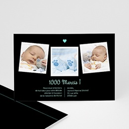 Carte remerciement naissance garçon Coeur Bleu