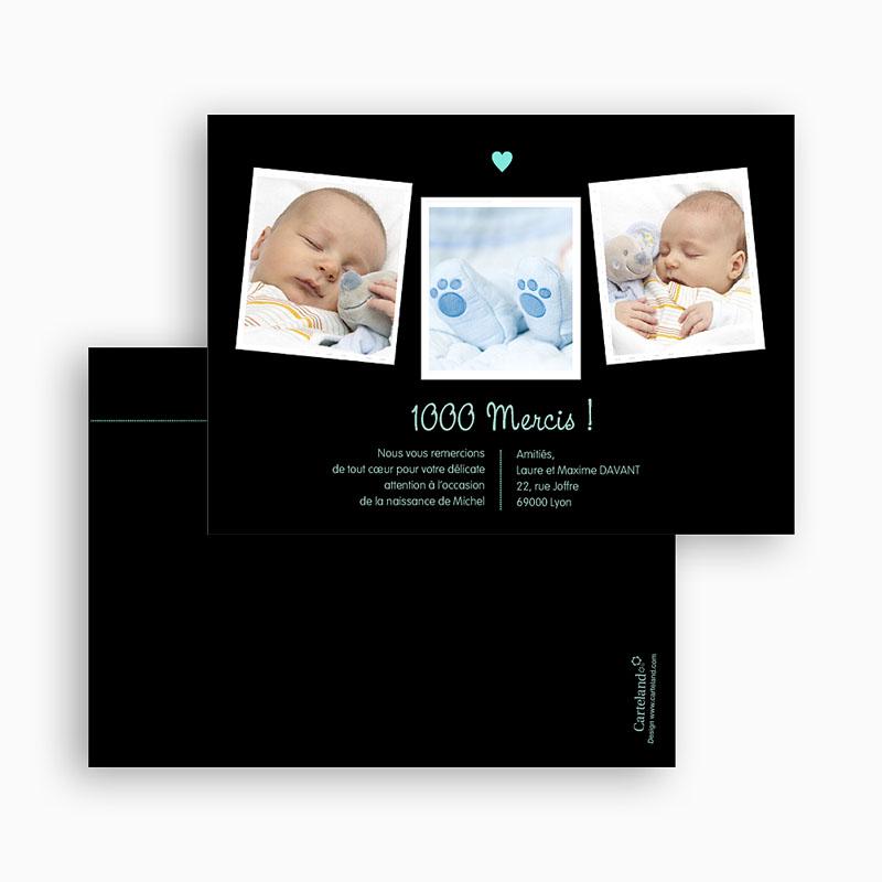 Carte remerciement naissance garçon Coeur Bleu gratuit