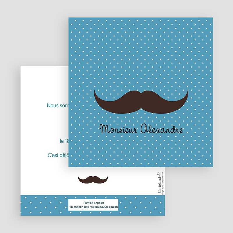 Faire-Part Naissance Garçon Monsieur Moustache gratuit