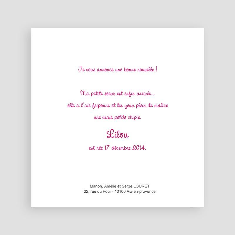 Faire-Part Naissance Fille -  Carré Rose 23121 thumb