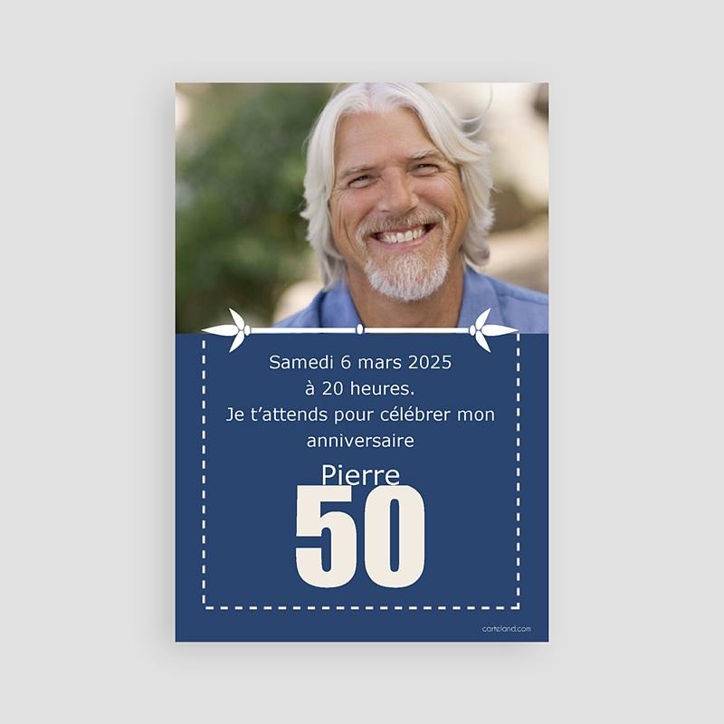 Assez Invitation anniversaire 50 ans : carte personnalisée | Carteland ZJ58