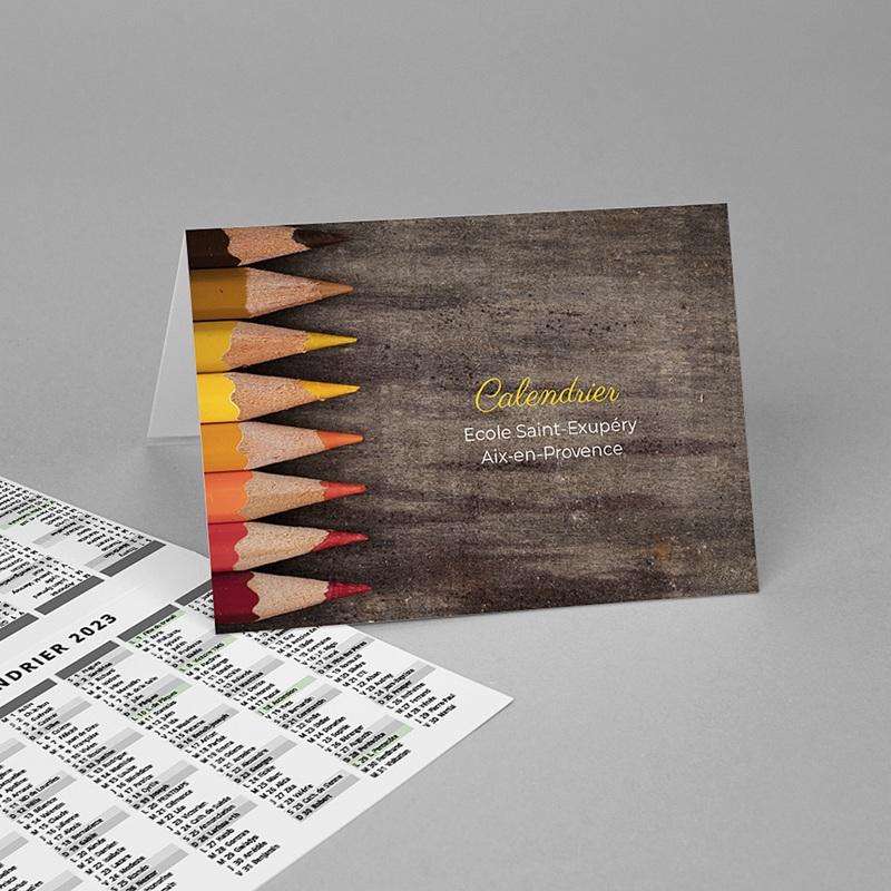Calendrier de Poche 2020 crayons de couleurs, vacances scolaires et jours fériés
