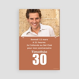 Carte invitation anniversaire adulte 30 ans