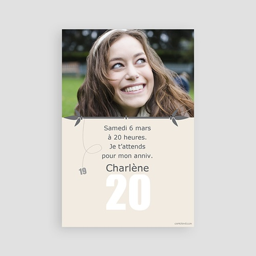 Invitation Anniversaire Adulte - 20 ans 2338 thumb