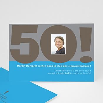 Carte invitation anniversaire adulte 50 ans bleu