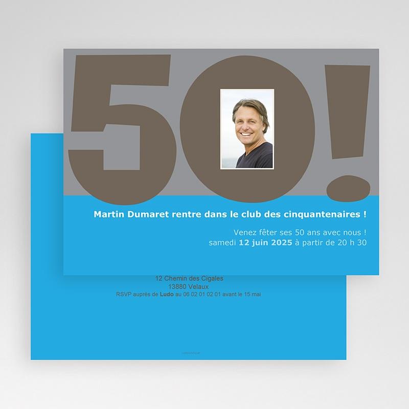 Carte Invitation Anniversaire Adulte 50 ans bleu gratuit