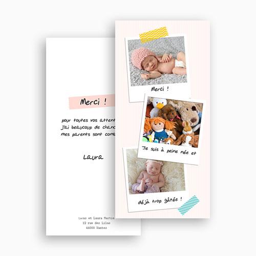 Carte Remerciement Naissance Fille Merci Pola gratuit