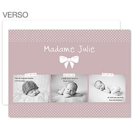 Faire-part naissance vintage Madame