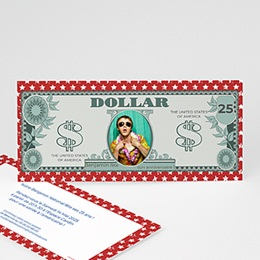 Carte invitation anniversaire adulte Dollar américain