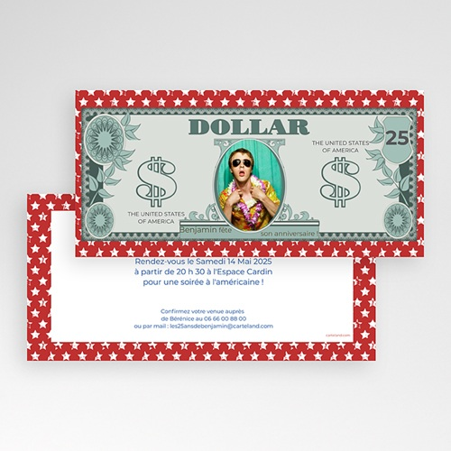 Invitation Anniversaire Adulte - Dollar américain 23650 preview