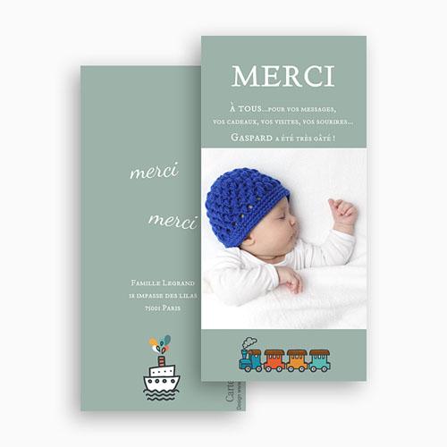 Carte remerciement naissance garçon Notre trésor gratuit
