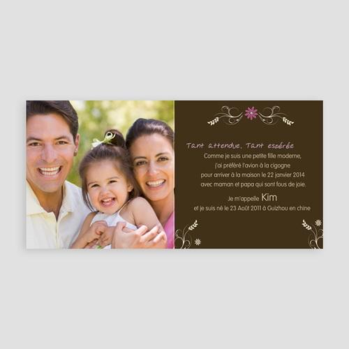 Faire-part Adoption Fille - L'arbre d'amour - Rose 23767 thumb