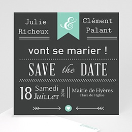 Save the date mariage Ardoise Vintage