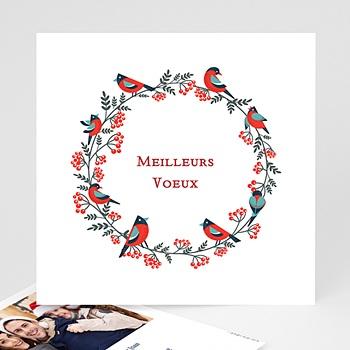 Carte de voeux Meilleurs Voeux oiseaux Couronne de Noë personnalisable