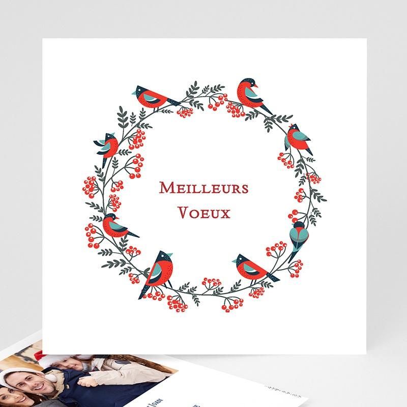 Carte de Voeux Meilleurs Voeux oiseaux Couronne de Noël