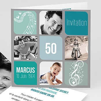 Carte invitation anniversaire adulte musique ! multi-photos